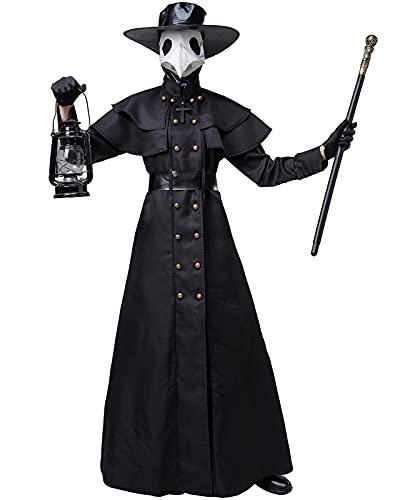 YTRDKJSW Disfraz de doctor de plaga de Halloween, talla grande, color negro