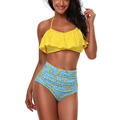 CheChury Costumi da Bagno Donna Vita Alta Bikini Imbottito Swimsuit Capestro Brasiliano Balze da Beachwear Regolabile Costumi da Bagno Due Pezzi Mare e Piscina Donna
