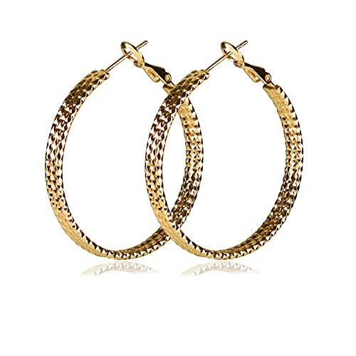 Yumay 9ct Gold Hoop 3-layers Earrings Made with Diamond Cut for Women(40MM).