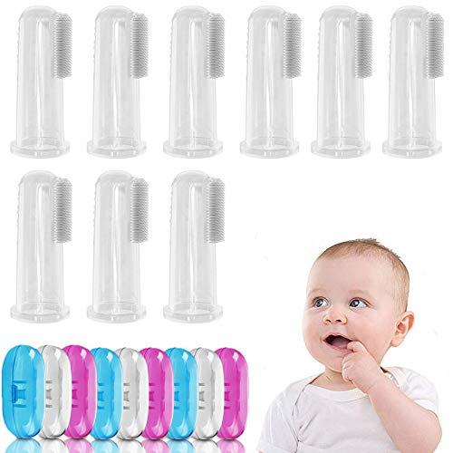 GZLCEU 9 Stück Baby Finger Zahnbürste, Silikon Baby Toothbrush für Zahnpflege Kindermundpflege und Zahnfleischmassage mit Aufbewahrungsboxen