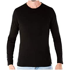 Package Includes: 1 - Men's 250g/m² merino wool thermal crewneck top – Black/M SUPER SOFT: 100% all natural superfine 18.5-micron Merino wool ensures comfort all day – no itch! EASY CARE: Mid-weight long sleeve crew top shirt is machine-washable and ...