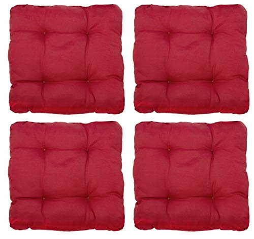 ZOLLNER 4er Set Stuhlkissen 38x38x6 cm, rot (weitere verfügbar)