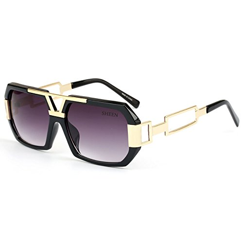 SHEEN KELLY Hexagon Retro Rechteckig Sonnenbrille Damen Herren Metall Brillen Gold Herren Square Brille Luxus