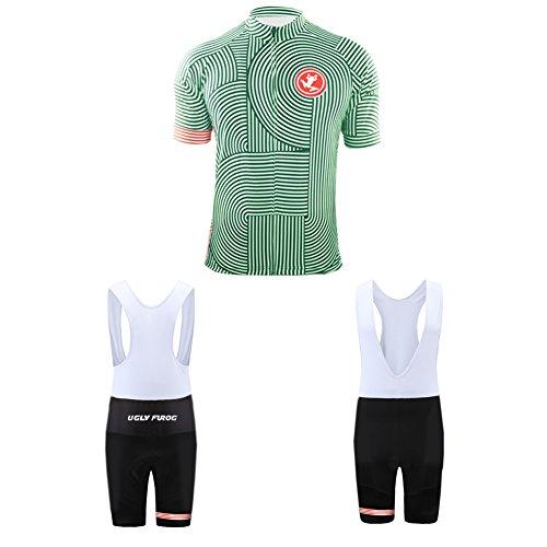 Uglyfrog Traje de Ciclismo Maillots de Bicicleta Conjunto de Verano Hombres Ropa de Ciclo Jersey de Manga Corta + Pantalones Cortos Acolchados Cómodo Respirable Secado rápido SstBL04