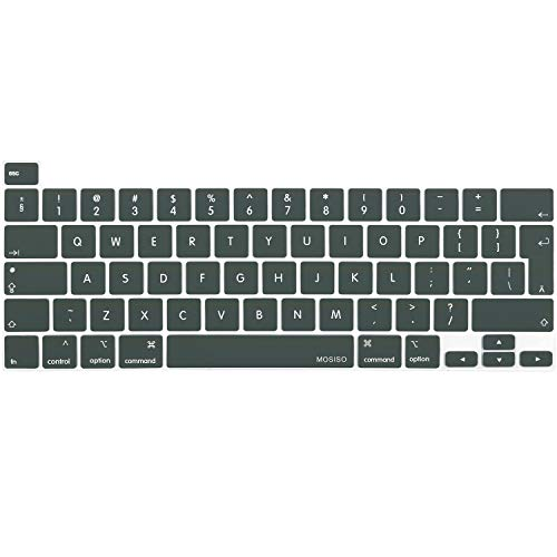 MOSISO Keyboard Cover Compatible with 2020 MacBook Pro 13 inch A2338 M1 A2289 A2251 & 2019 MacBook Pro 16 inch A2141 with Touch ID & Retina Display, Protective Silicone Skin, Midnight Green