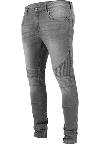 Urban Classics TB1436 Herren und Jungen Jeanshose Slim Fit Biker Jeans, Five-Pocket Stretch Biker Hose im Used Look, grey, Größe 32