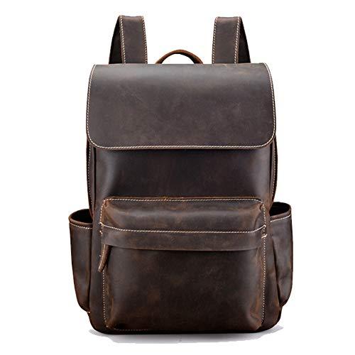 FQXM lederen rugzak rundleer rugzak schoolboekentas klassieke handgemaakte laptop koffer dagtas kan worden gebruikt als reisweekender casual outdoor
