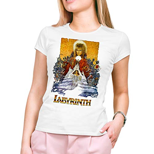Camiseta Mujer Cine Labyrinth - Dentro del Laberinto, Jim Henson (Blanco, M)
