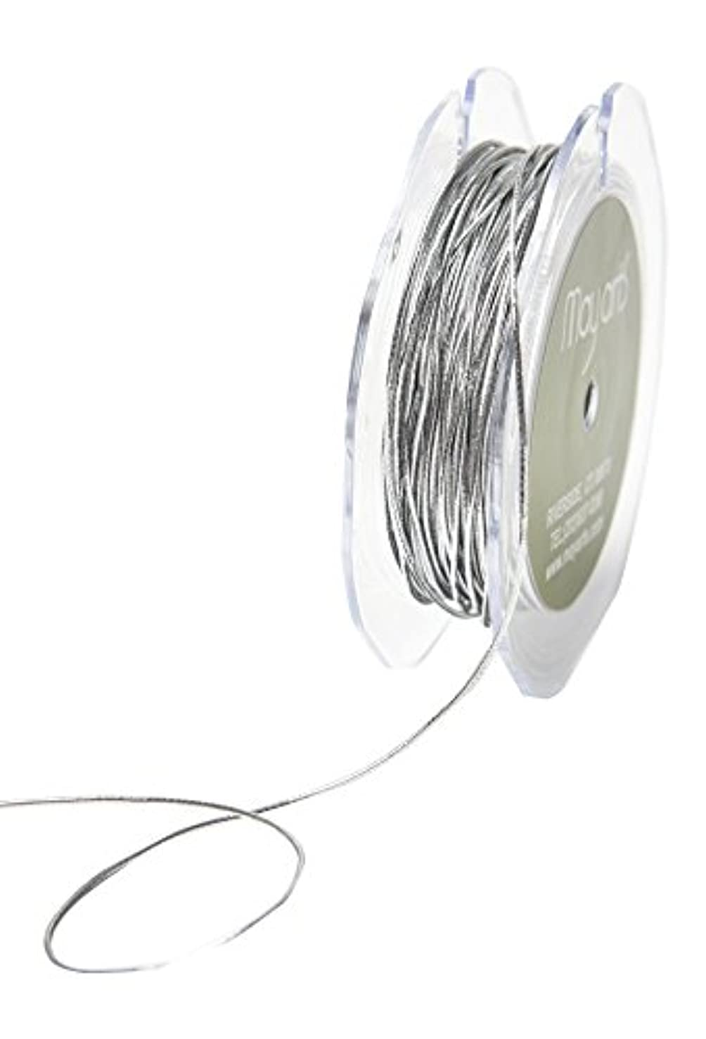 May Arts Ribbon 1 mm Elastic String Ribbon 50 yd Metallic Silver