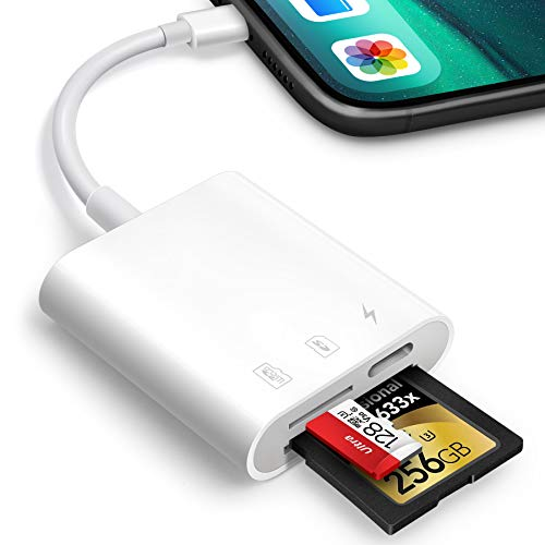SD Card Reader for iPhone iPad,Oyuiasle Trail Game Camera SD Card Reader Viewer,SLR Cameras SD Reader Accessories with Dual Slots,Photography Memory Card Adapter,Plug and Play