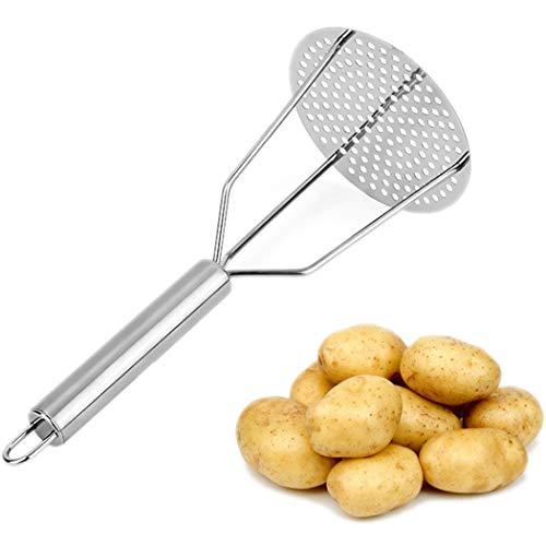 Justdolife Kartoffelstampfer mit ergonomischem Griff, manueller Edelstahl, Obstkartoffelpresse, Küchenstampfer