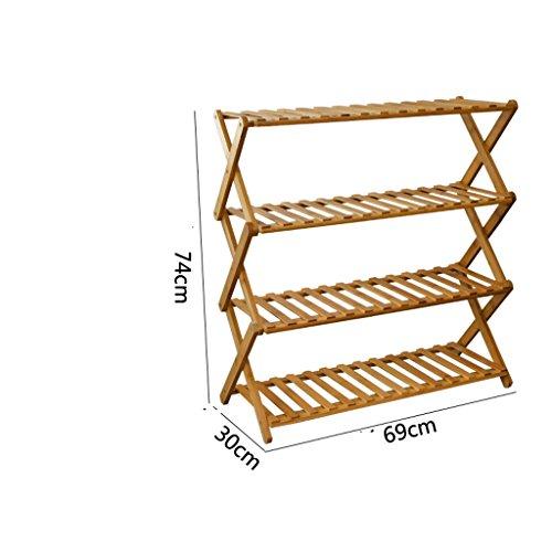 Chaussure Bamboo Shoe Simple Rack Moderne Simple Multi - Couche de poussière de Stockage en Bois Massif Cabinet Economie (Taille : 3)
