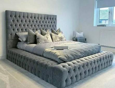 Beds & Co Grey Plush Velvet Upholstered Regal Ambassador Bed Frame and Headboard - Mattress Option Available - Hand Made in the UK - Single/Double/Kingsize/Superking (Kingsize (5FT), Without Mattress)