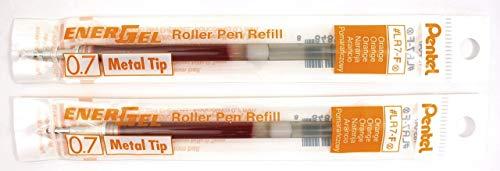 2 Pk Pentel LR7-F EnerGel Refills, 0.7 mm Medium, Orange