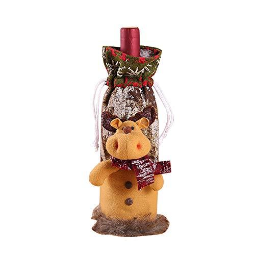 DIAOSUJIA Bolsa De Navidad,1 Unids Navidad Alce Vino Botella Set Tinto Vino Botella Bolsa De La Casa Decoración Suministros Mesa Decoración Fiesta Regalo Embalaje