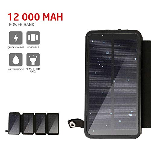 PowerLocus Solar Charger – [4 Efficient Panels] 12000mAh Waterproof Solar Battery Charger for Emergency, Rugged Portable Solar Power Bank External Battery Charger for Phones/Tablets/GPS/Camping,etc.