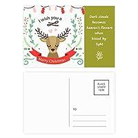クリスマス鹿祭りのパターン 詩のポストカードセットサンクスカード郵送側20個