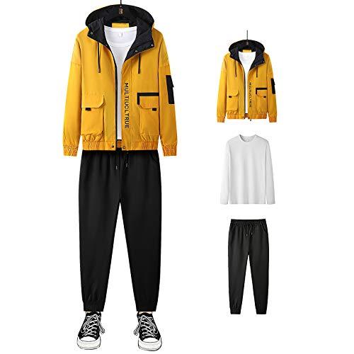 Jamron Hombre 3PCS Chandal de Moda Chaqueta con Capucha + Manga Larga Camiseta + Pantalones Deportivos Amarillo SN07914 4XL