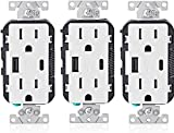 Leviton T5633-W 15-Amp Type-C USB Charger/Tamper Resistant Receptacle, White, 3 Pack