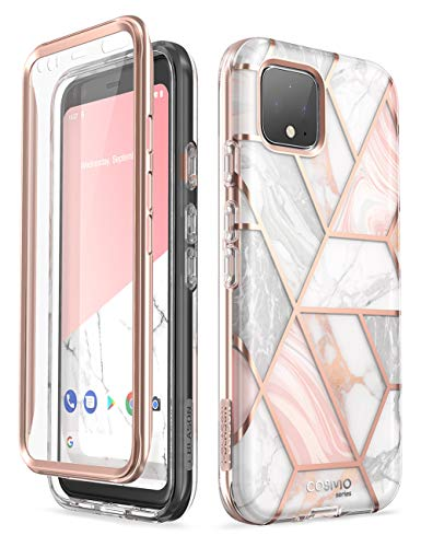 i-Blason Cosmo Case Design for Google Pixel 4 (2019 Release), Protective Full-body Bumper Marble Design Case with Built-in Screen Protector (Marble)