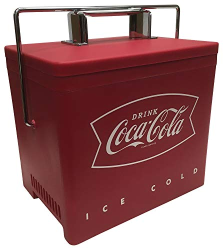 Coca-Cola AC/DC Retro Electric Cooler, 4.2 Quarts (4L) Capacity - Portable Mini Fridge with Thermoelectric Cooling, Holds Up to 6 Cans