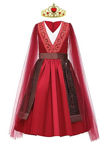 O.AMBW Vestido Rojo de Mulan Hanfu Traje Tradicional Chino Valores de la Vida Disfraces para niños de Princesa Cosplay Guerrero Héroe para Carnaval Celebración de Halloween Año Nuevo Cumpleaños