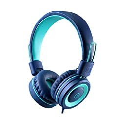 On-ear headphones has padded soft cushions with a soft touch finish. Adjustable headband for a perfect fit, and a lightweight design for kids age 3 and up. Foldable design for a more compact and easy storage. The cord is a 5 feet long nylon braided c...