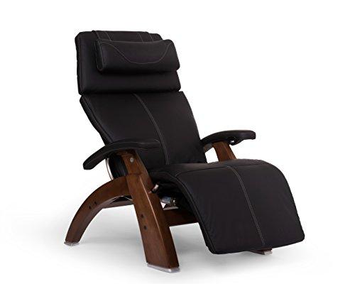 Perfect Chair Human Touch PC-610 Omni-Motion Series 2 Power Recline Walnut Wood Base Zero-Gravity Recliner - Black SoftHyde Vinyl