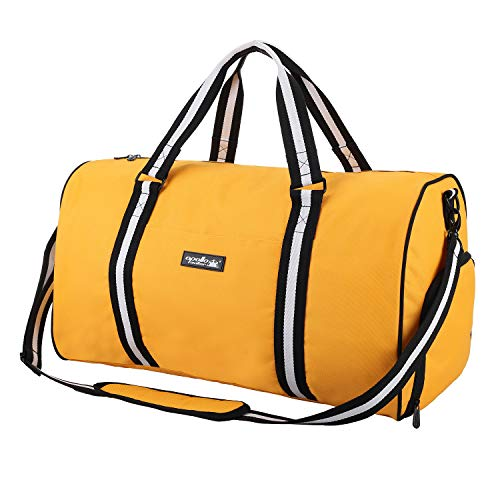 apollo walker Water Resistant Sports Gym Duffel Bag with Shoes Compartment Travel Weekender Bag 45L for Men Women, Yellow
