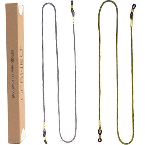 GERNEO® - DAS ORIGINAL - Premium Brillenband & Brillenkordel Unisex für Lesebrille & Sonnenbrille - goldene Halter - Grau & Grün - extra lang - 2er Pack