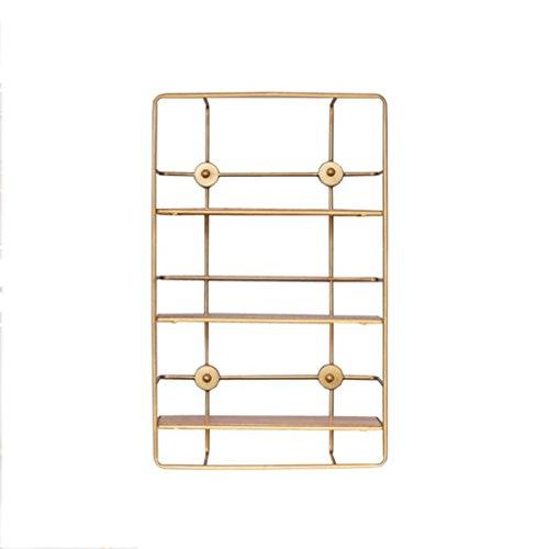 LSLS Creative Golden Iron Mark Nordic Metal Partition Mueble Malgón Polígono Polígono Estante Decorativo estantería de Pared