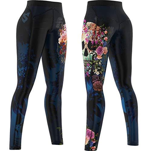 SMMASH Muerte Deportivos Leggins Largos Mujer, Mallas Deporte Mujer, Yoga, Fitness, Cross, fit, Correr, Material Transpirable y Antibacteriano, (L)