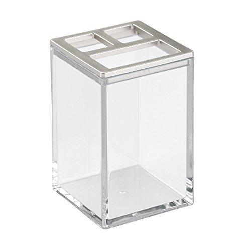 iDesign 41280EU Clarity Zahnbürstenhalter, 6,35 x 6,35 x 10,16 cm, durchsichtig/gebürstet, plastik