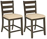 Signature Design by Ashley - Rokane Upholstered Barstool - Set of 2 - Casual Style - Brown