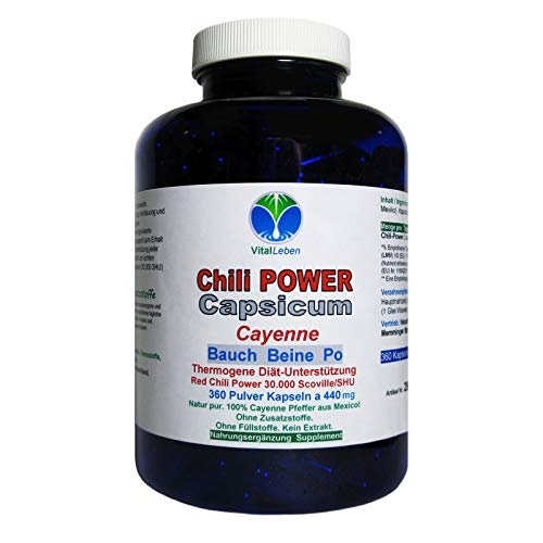 Chili POWER CAPSICUM PRO F-BURNER 360 Cayenne Kapseln. Diät Unterstützung & (Fett) Stoffwechsel. Abnehmen, schlank & fit bleiben durch Gewichtsmanagement NATUR pur. 26595-360