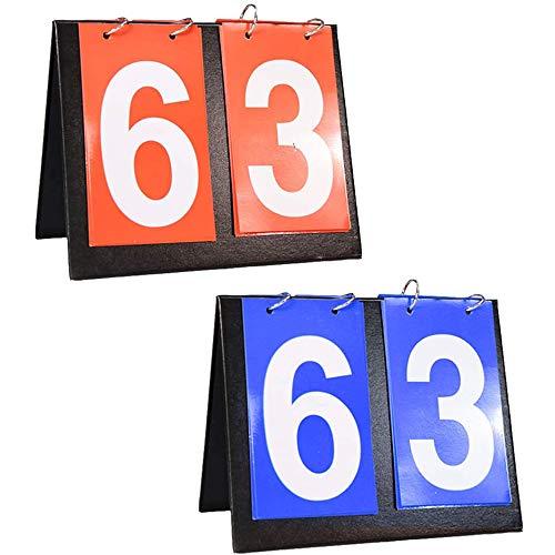 Baloncesto Marcador, 2 Piezas Deportes Tablero de Mesa Marcador, Marcadores de Tenis, Marcador Portátil, para Baloncesto Interior al Aire Libre Fútbol Béisbol Tenis de Mesa Deportes (Azul y Ro