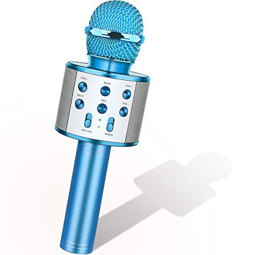 Dreamingbox Spiele Geschenke für Mädchen, drahtlose Bluetooth-Karaoke-Mikrofon olds Kinderspielzeug, Kinder Geschenk Spielzeug Mädchen, Lautsprecher blau, 4-12 Jahre