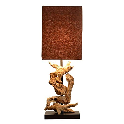 Tischleuchte Nacht Lichter Asiatische Handgemachte Tischlampe Verwitterte Holz-Schreibtisch-Lampe Natural Art Schlafzimmer Nachttischlampe Geeignet for Hotel Wohnzimmer Schlafzimmer Cafe Button Switch