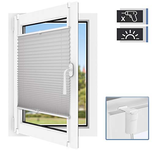 BelleMax Plissee ohne Bohren Jalousie klemmfix Rollo Klemmrollo Sichtschutz und Sonnenschutz für Fenster, Grau 35x130 cm(BxH)