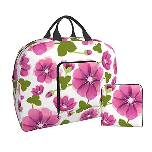 Bolsa de viaje plegable impresa de la flor conveniente para el equipaje ligero de los deportes del gimnasio del viaje