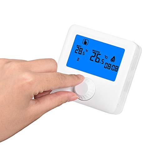 Termostato programable, 5~35 ° C 5 + 2 días Controlador de temperatura con pantalla LCD digital programable, RF inalámbrico para sala de estar en casa