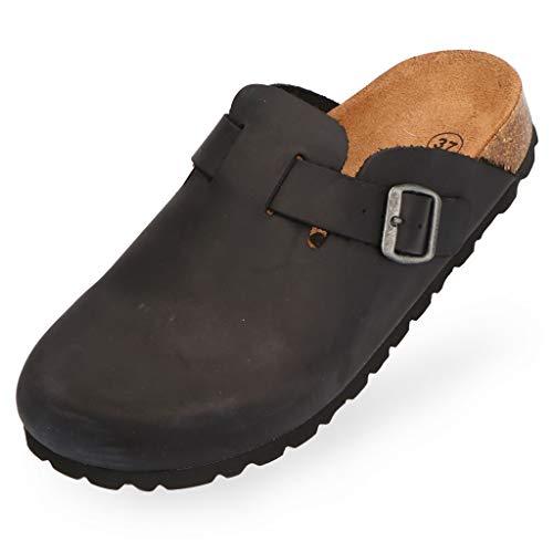 BOnova Wesel: Lederpantoffel schwarz in Größe 44. Hausschuhe aus Echtleder (Nubuk), mit Kork-Fußbett, hergestellt in der EU.