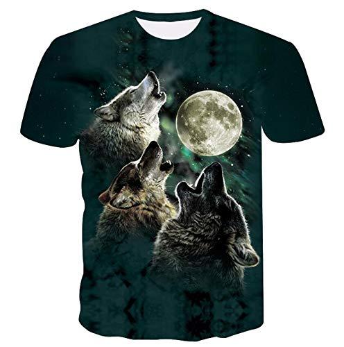 GJCDGPZTX 3D T-Shirt Lobo-Aullando Luna Llena.Mangas Cortas.Vestido De Verano.Ropa De Ocio.Ropa De Caballero.Camisa.Camiseta 3D.Venta Al por Mayor