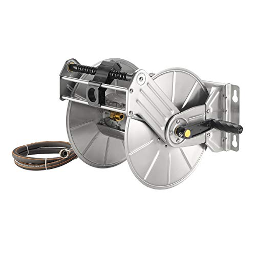 "Giraffe Stainless Steel Hose Reel, Wall/Floor Mounted Decorative Garden Hose Reel, 130-Feet 5/8"" Hose Capacity Metal Water Hose Reel"