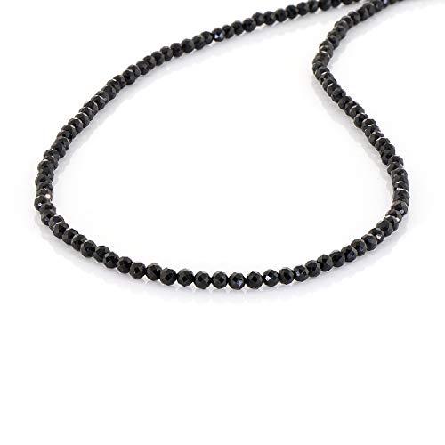 Collar redondo facetado de espinela negra, collar de piedras preciosas, collar de fiesta, regalo.