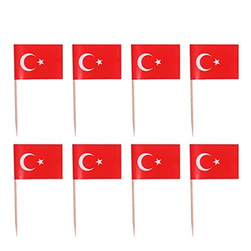 LUOEM 100Pcs Türkei Flagge Spanien Flagge Zahnstocher Cupcake Topper Dekorationen Mini Kleine Flagge Party Dekoration Feier Cocktail Food Bar Kuchen Fahnen (Türkei)