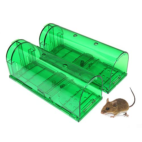 Humane Smart Mouse Trap Rongeurs Vivants, Faciles À Régler, Pour Intérieur/Extérieur, Boîte De Cage Réutilisable 2 Pièces,Green