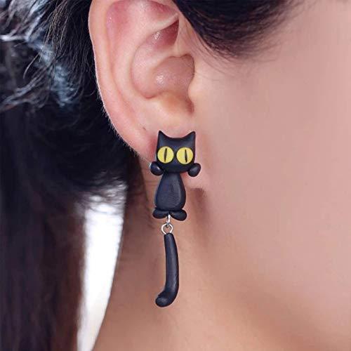 lefeindgdi Pendientes de gato de ojos amarillos, pendientes de gato de ojo amarillo, divertido gato de dibujos animados de cola larga dividida tipo lindos pendientes para mujeres