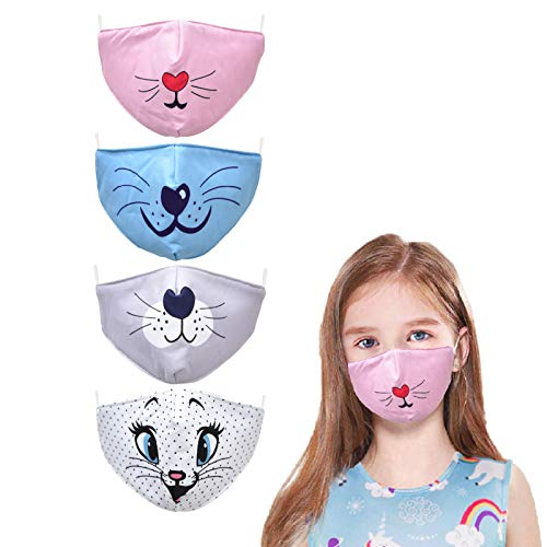 Kids Face Cute Mask Anime Childrens Reusable Washable, Adjustable For Youth Cotton Boys Airsoft Toddler Girls Baby Child FacemaskBreathable Pink Cat Dog Children'S Cloth SizeBest Ear Loops Kawaii