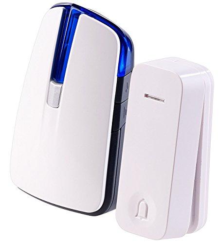CASAcontrol Batterie Türklingel: Batterie-Funkklingel mit kinetischem Funk-Taster, Licht & Ton (Funkklingel batteriebetrieben)